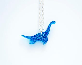 Tiny Glitter Plesiosaur Dinosaur Necklace. Sparkly Dinosaur Necklace. Dinosaur Pendant. Glitter Acrylic Jewellery. Bridesmaid Gift.