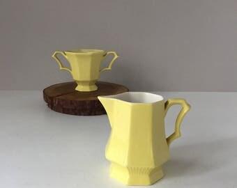 1776 Independence Ironstone, Yellow Daffodil Creamer and Sugar, Vintage Castleton China Japan, Mid Century Tableware Dinnerware