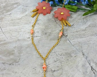 Floral Necklaces for Women, Womens Flower Necklace, Pink Flower Necklace, Peach Flower, Flower Statement Jewelry, Flower Jewelry, Gift