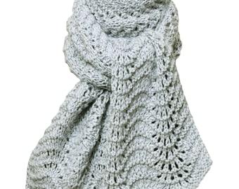 Hand Knit Scarf - Silver Grey Kitten Cashmere Silk Feather Fan Lace