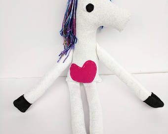 Big Unicorn Stuffed Animal Plush with Magical Yarn Rainbow Hair, Chunky Legs, and Hand Stitched Hot Pink Heart