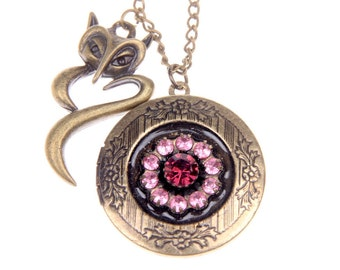 Necklace Locket Magic flower and fox