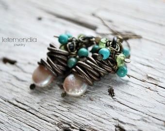 Pearl Cluster Earrings Green Peridot Artisan Jewelry Dangle Dangling by Letemendia Jewelry Earrings