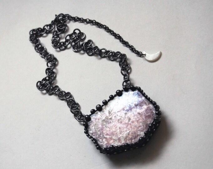Large Lepidolite Mica Slab Crystal Necklace