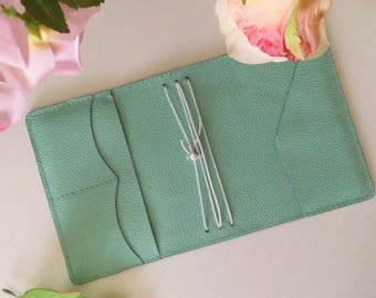 Pastel Mint Leather Traveler's Notebook Cover  NAYAdori /Midori style notebook cover/ Leather Journal / Fauxdori/ - Wide Fit