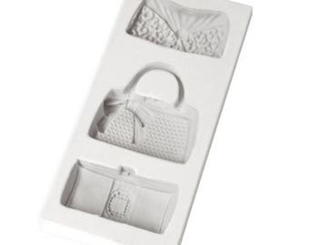 Purse, Hand Bag, Silicone Mold for fondant and gumpaste cake decorating by Katy Sue Designs