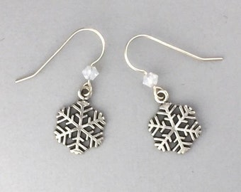 Sterling Silver Snowflake Earrings - Christmas Earrings - Christmas Gift - Snowflake Jewelry - Available in 12 Swarovski Crystals
