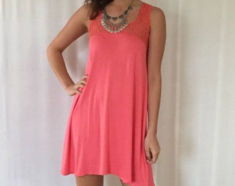 SALE Tank Dress in Coral  | Dusty Rose | Off White