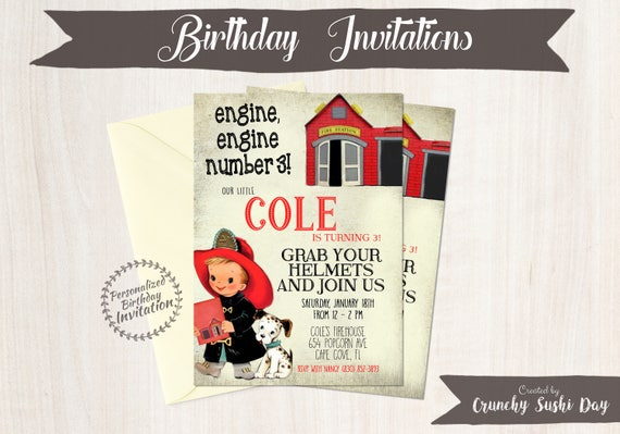 Vintage Fireman Customizable Birthday Invitations, Boy Birthday Invitations, Firefighter birthday party, Printable Invitations, Boy 077