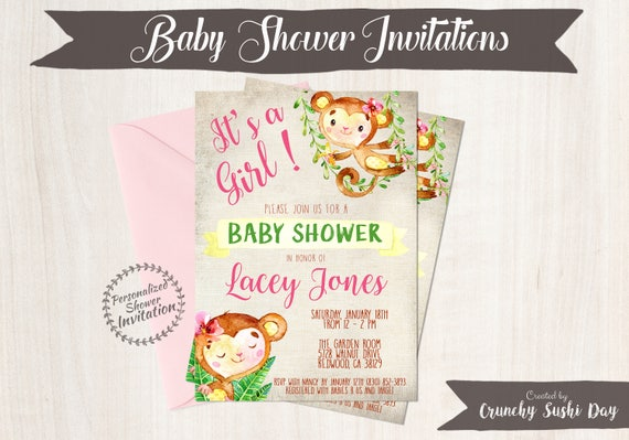 Pink Monkey, Girl Baby Shower Invitations, Printable Invitations, Baby Girl, Safari, Jungle, Monkey, Pink, Grey, Nursery, Cute 010