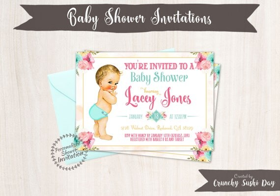 Vintage Baby Boy Baby Shower Invitations, Baby Shower Invitations, Printable Invitations, Baby Boy, Blonde, Teal, Pink, Floral 001