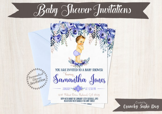 Vintage Baby Boy Baby Shower Invitations, Baby Shower Invitations, Printable Invitations, Baby Boy, Blonde, Blue, Indigo, Floral 020
