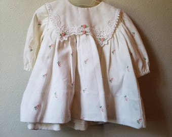 Vintage Girls White Long Sleeved Dress with Rosebud Applique and Sheer, Lace-trimmed collar and Bloomers- Size 6 months- New, never worn