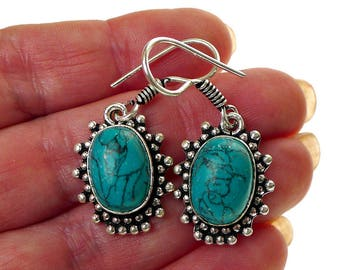 Turquoise Earrings, Bohemian Silver and Turquoise Gemstone Earrings, Turquoise Dangle Earrings, Turquoise Jewelry - SE-GSP363X