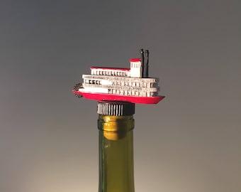 Steamboat Wine Stopper, Ferry Boat, Steamboat, Wine Gift, Boat Gift, Wine and Boating, Ferry Boat, Steamboat Bottle Topper, Wine Cork