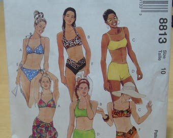 Free shipping! McCall's 8813 Size 10 multi style swimsuit and sarong pattern UNCUT