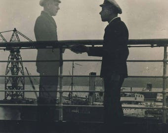 Two 'ghost' double exposures, sailor on deck of ship, 2 vintage photographs c1930s
