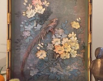 "ASIAN DECOUPAGE BIRD, Faux Bamboo, Asian Framed Art, Gold and Black, 21"" X 18"", Regency, Handmade 1970's, Layered Art at Ageless Alchemy"