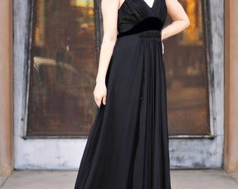 1930s black silk chiffon & velvet empire waist gown, Size Sm