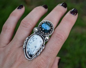Labradorite Dendritic Agate Ring, Agate Ring. Dendritic Agate, Sterling Silver, Large Statement Ring, Labradorite, Blue Labradorite