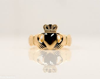 Solvar Ireland 10k Yellow Gold Claddaugh Ring Promise Wedding Band Irish Claddagh