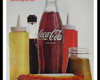 Classic Coca-Cola ad 60s like 60s deli or drive-in Picnic.  Simple yet SOOO good. Man Cave Art.  Fun Ad. 13 x 10.  Ready for Framing.