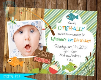 Fishing Invitation - Gone Fishing Invitation - Fishing Birthday Invitation - O Fish Al Invitation - Fishing Invite - Fishing Birthday Invite