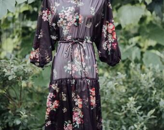 Vintage Sheer 70's Floral Print Dress