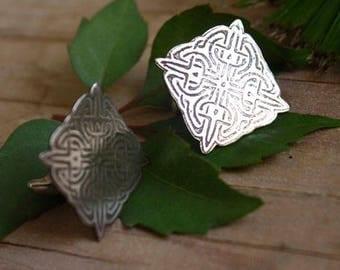 sterling silver celtic cufflinks - celtic knot cufflinks - square cufflinks - celtic cross - shied cufflinks - knights - LANCELOT