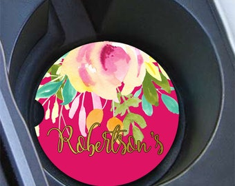 Personalized floral car cup holder coasters, Maroon pink green, Faux gold foil monogram, Pretty auto decoration, Gift under 20 (1800)