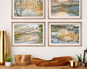 Set of 4 prints, living room, city art photography, oversized artwork, St Petersburg travel photo, watercolor picture, large wall art set