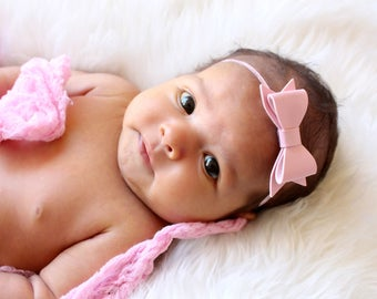 Baby Headband, Pink Baby Headband, Leather Bow Headband, Baby Headband,  Infant Headband, Pink Headband, Light Pink Headband