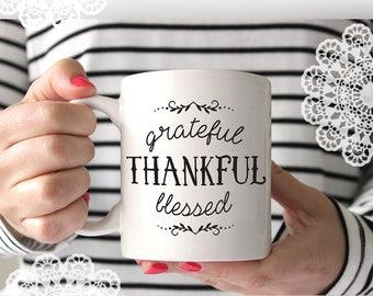 Grateful Thankful Blessed - SVG Cut File - Cricut Explore & Silhouette Cameo