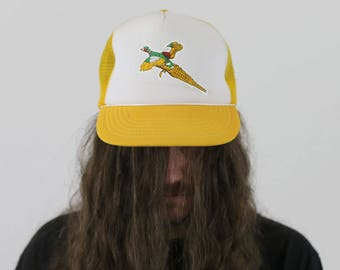 True Vintage 1980s Yellow Duck Pheasant Hunting Cap Snapback