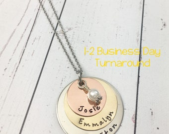 Mixed Metal Stacked Mom Necklace - Mom Necklace with Kids Names - Layered Mom Necklace - Mixed Metal Jewelry - Stamped Custom Mom Necklace