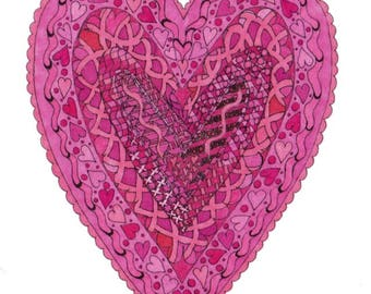 Pink Doily Style Heart Sidefold Card
