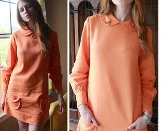"70s Vintage MINI DRESS Orange Creamsicle ""The Art Shirt"" Tunic low hip Pockets PETER Pan Collar long sleeved Women's Medium Shift ShirtDress"
