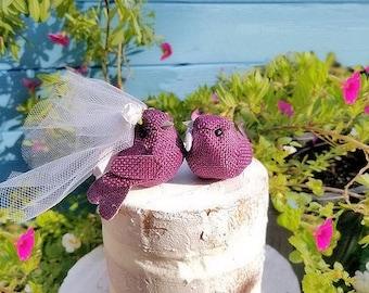 SALE choose your head flower wedding    small  wonderful rustic burlap  bird wedding cake topper or  wedding anniversary