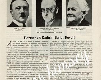 VERY RARE Ephemera - Candidacy of Adolf Hitler 1930 Magazine Article - Hitler Runs for Power - History Professor, History Expert #154 AW