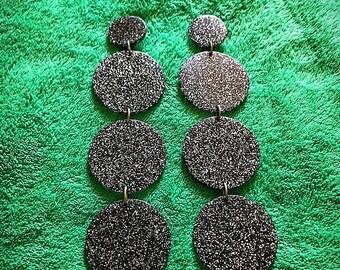 1980s Huge Dramatic Black Silver Geometric Mod Clip on Shoulder Duster Earrings