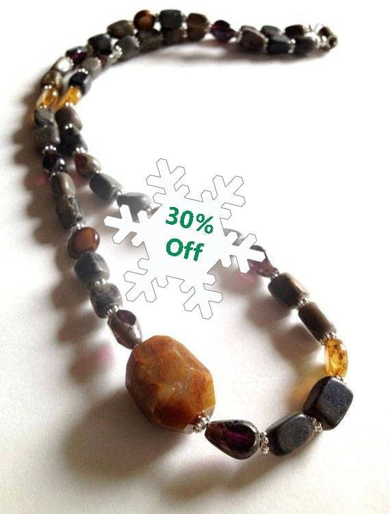 Earthy Agate Beaded Necklace, Agate Necklace, Handmade Beaded Necklace, Stones, Jewelry, Crystal Jewelry