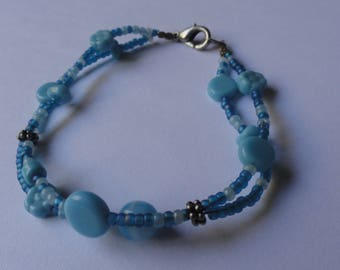 Vintage Blue Double Strand Beaded Bracelet