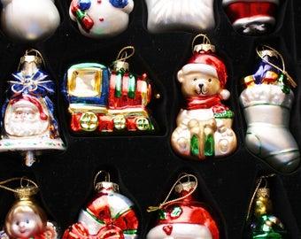 Christmas Ornaments Box of 12, Santa, Snowman, Christmas Tree and more