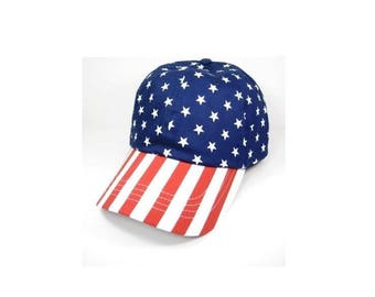 Custom American Flag Dad Hat Stars Red White Blue 6 Panel Unstructred Golf Style
