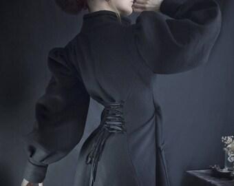 Mina Black wool coat