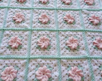 Pink Crochet Rose - Pinwheel - Granny Square Baby Blanket/Afghan