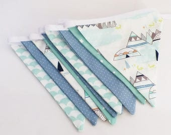 Garland 10 fabric flags ice blue and green Mint patterns Tipi, Igloo, polka dots, stars and waves...