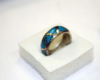 Vintage Sterling Silver Crushed Turquoise Ring Size 6 DD001
