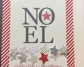 Noel, stampin up, stars, confetti, Merry Christmas, card