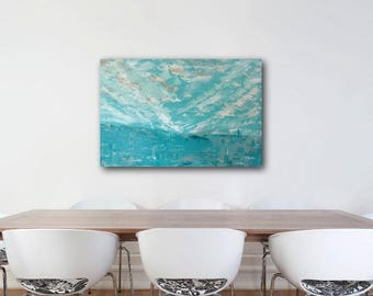 Original Large Fine Art Abstract Landscape Acrylic Painting Wall Art 24 x 36 inches Canvas in Blue Turquoise Cream Home Decor
